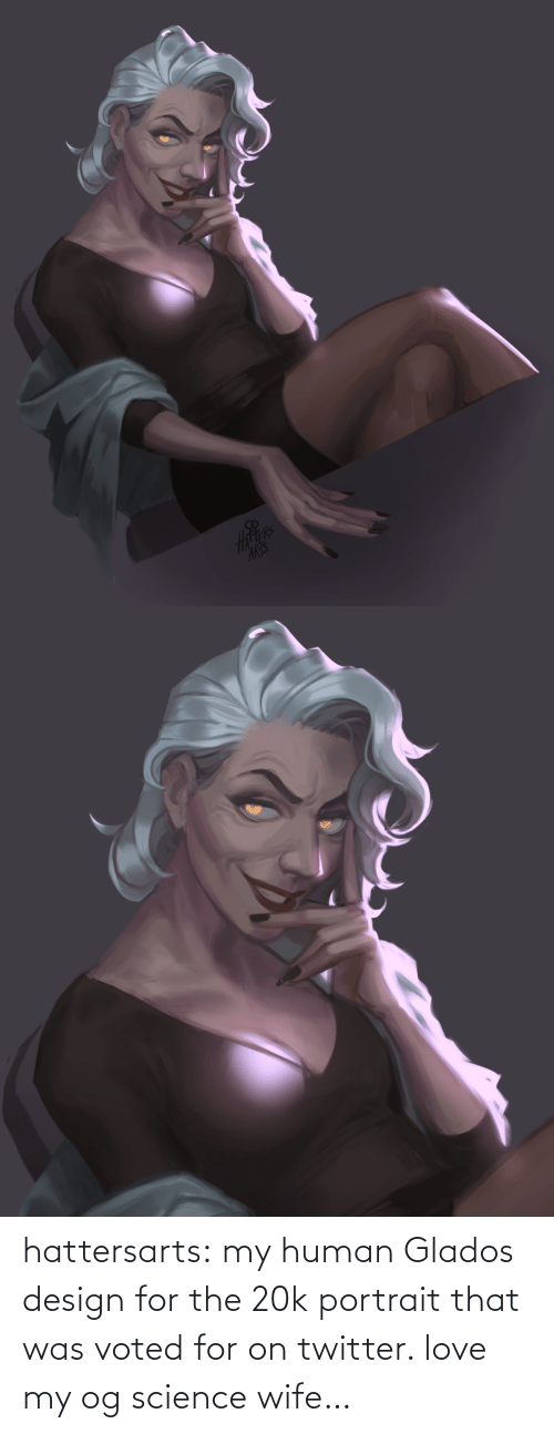 Design: hattersarts:    my human Glados design for the 20k portrait that was voted for on twitter. love my og science wife…