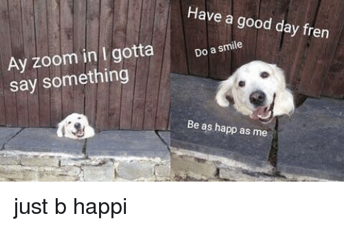 Zoom, Good, and Smile: Have a good day fren  Ay zoom in I gotta  say something  Do a smile  Be as happ as me <p>just b happi</p>