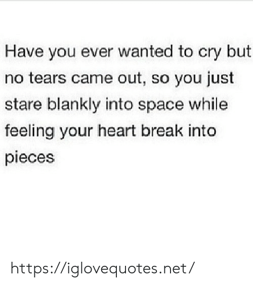 tears: Have you ever wanted to cry but  no tears came out, so you just  stare blankly into space while  feeling your heart break into  pieces https://iglovequotes.net/