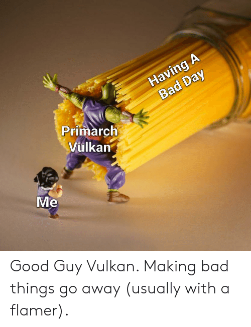 Bad, Bad Day, and Good: Having A  Bad Day  Primarch  Vulkan  Me Good Guy Vulkan. Making bad things go away (usually with a flamer).