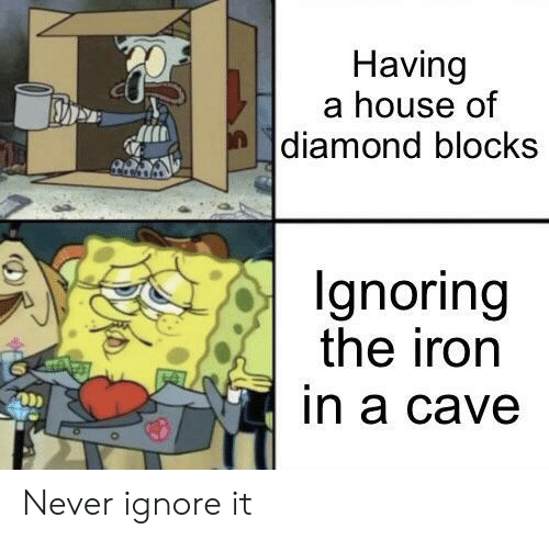House Of: Having  a house of  |diamond blocks  Ignoring  the iron  in a cave Never ignore it