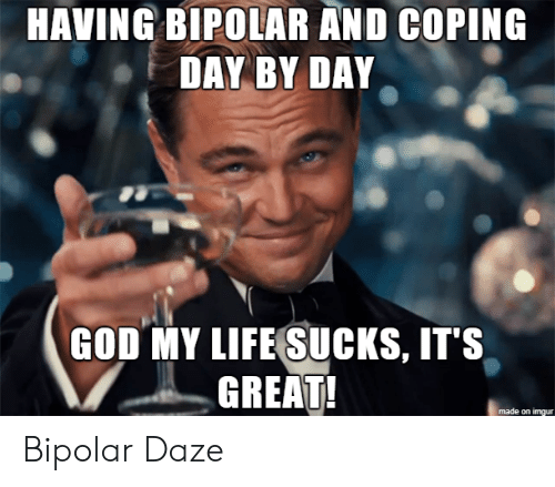 God, Life, and Bipolar: HAVING BIPOLAR AND COPING  DAY BY DAY  GOD MY LIFE SUCKS, IT'S  GREAT!  made on imgur Bipolar Daze