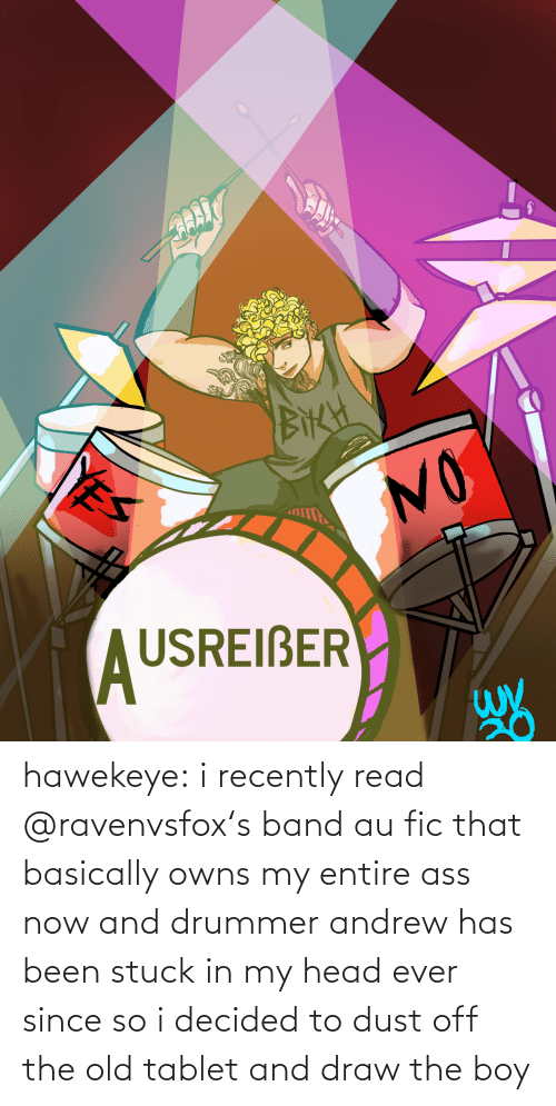 andrew: hawekeye: i recently read @ravenvsfox's band aufic that basically owns my entire ass now and drummer andrew has been stuck in my head ever since so i decided to dust off the old tablet and draw the boy