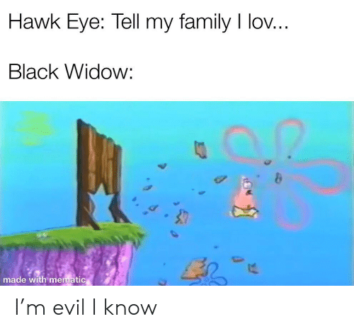 Black Widow: Hawk Eye: Tell my family I lov...  Black Widow:  made with mematic I'm evil I know