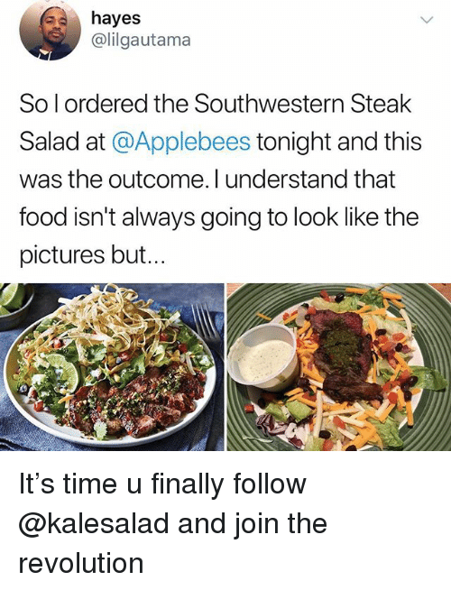 Food, Memes, and Applebee's: hayes  @lilgautama  So l ordered the Southwestern Steak  Salad at @Applebees tonight and this  was the outcome. l understand that  food isn't always going to look like the  pictures but. It's time u finally follow @kalesalad and join the revolution