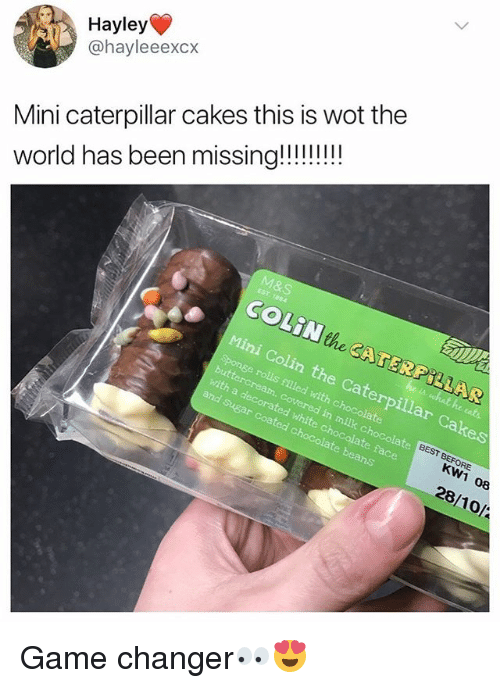 Game Changer: Hayley  @hayleeexcx  Mini caterpillar cakes this is wot the  COLiN the CATERPILLAR  Mini Colin the Caterpillar Cakes  Sponge rolls filled with chocolate  with a decorated white c  in milk chocolate  and Sugar coated c  te face  KW1 08  28/10/ Game changer👀😍