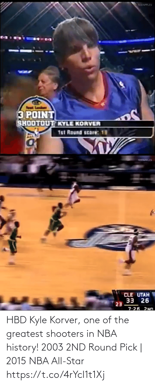 nba all star: HBD Kyle Korver, one of the greatest shooters in NBA history!    2003 2ND Round Pick   2015 NBA All-Star https://t.co/4rYcI1t1Xj