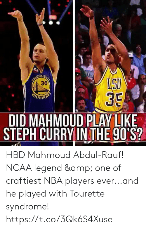 syndrome: HBD Mahmoud Abdul-Rauf! NCAA legend & one of craftiest NBA players ever...and he played with Tourette syndrome!  https://t.co/3Qk6S4Xuse