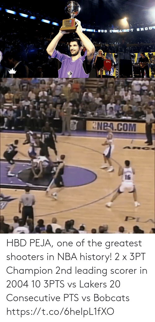 greatest: HBD PEJA, one of the greatest shooters in NBA history!  2 x 3PT Champion 2nd leading scorer in 2004 10 3PTS vs Lakers 20 Consecutive PTS vs Bobcats https://t.co/6heIpL1fXO