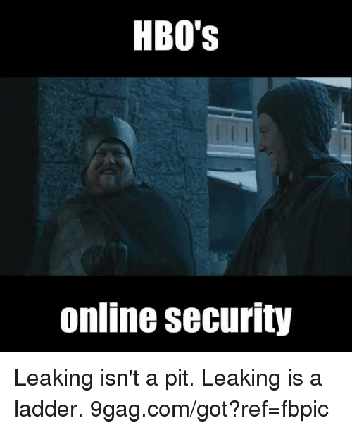 Gotted: HBO's  Online security Leaking isn't a pit. Leaking is a ladder.  9gag.com/got?ref=fbpic