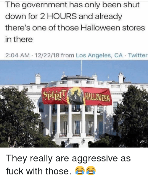 Halloween, Memes, and Twitter: he government has only been shut  down for 2 HOURS and already  there's one of those Halloween stores  in there  2:04 AM 12/22/18 from Los Angeles, CA Twitter They really are aggressive as fuck with those. 😂😂