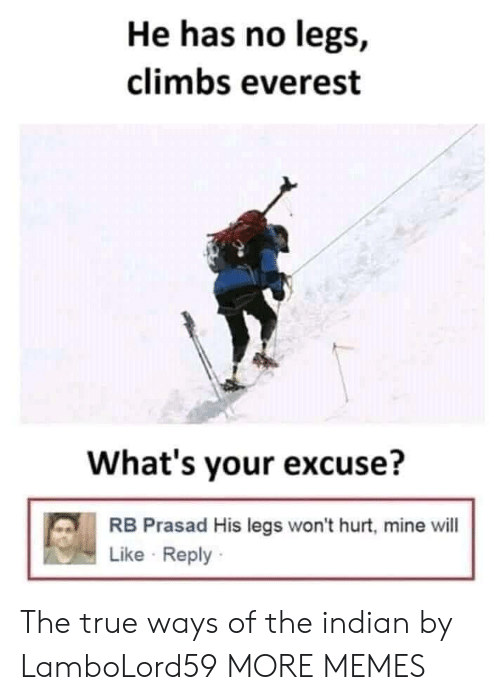 Dank, Memes, and Target: He has no legs,  climbs everest  What's your excuse?  RB Prasad His legs won't hurt, mine will  Like Reply The true ways of the indian by LamboLord59 MORE MEMES