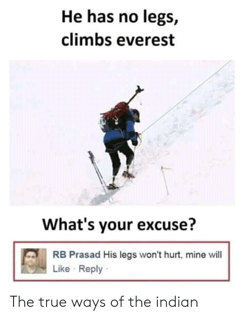 True, Indian, and Everest: He has no legs,  climbs everest  What's your excuse?  RB Prasad His legs won't hurt, mine will  Like Reply The true ways of the indian