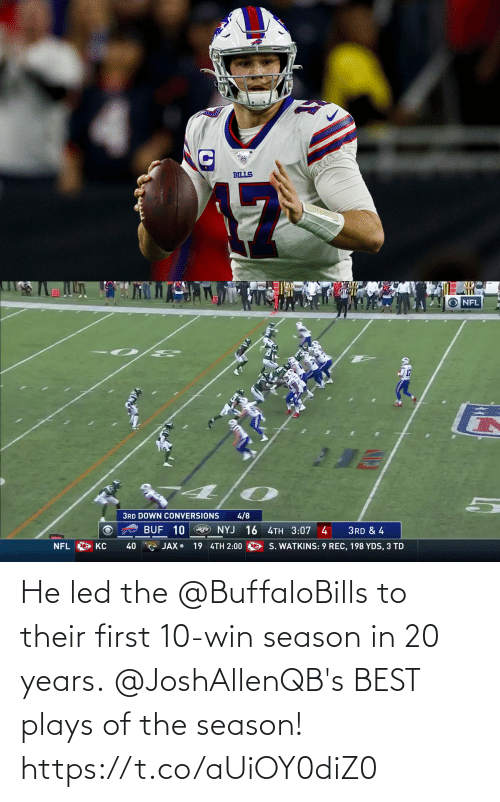 Plays: He led the @BuffaloBills to their first 10-win season in 20 years.  @JoshAllenQB's BEST plays of the season! https://t.co/aUiOY0diZ0