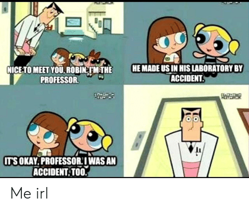 Okay, Irl, and Me IRL: HE MADE US IN HIS LABORATORY BY  ACCIDENT.  NICE-TO MEET YOU. ROBIN M THE  PROFESSOR.  CO Dco  IT'S OKAY.PROFESSOR:IWAS AN  ACCIDENT TOO. Me irl