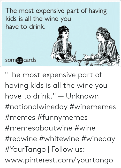 "Memes, Wine, and Pinterest: he most expensive part of having  kids is all the wine you  have to drink.  someecards ""The most expensive part of having kids is all the wine you have to drink."" — Unknown #nationalwineday #winememes #memes #funnymemes #memesaboutwine #wine #redwine #whitewine #wineday #YourTango 