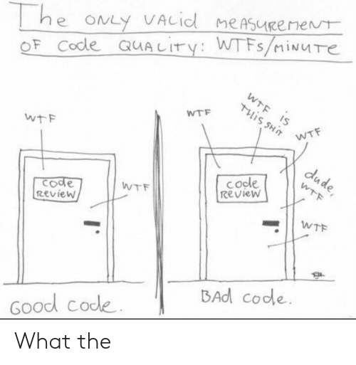 dude: he ONLY VACid meAsueenent  OF Code QUALITY: WTFS/iNUTe  WTF IS  Tis SHT  WTF  WTF  wtF  dude,  cocle  Review  WTF  てode  Review  WTF  WTF  BAd code  Good code What the