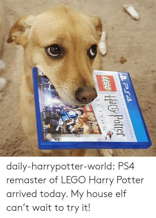 Remastered: He Palle  ly Polter  REMASTERED FOR PLAYSTATION  Ha!  8  E CTIO N  2 CLASSIC GAMES ON 1 DISC daily-harrypotter-world:  PS4 remaster of LEGO Harry Potter arrived today. My house elf can't wait to try it!