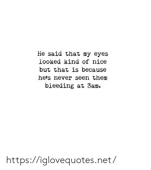Never, Nice, and Net: He said that my eyes  looked kind of nice  but that is because  hets never seen them  bieeding at 3am https://iglovequotes.net/