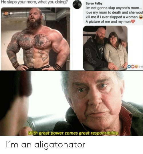M An: He slaps your mom, what you doing?  Søren Falby  I'm not gonna slap anyone's mom...  love my mom to death and she wou  kill me if I ever slapped a woman  A picture of me and my mon  With great power comes great responsibility  GRS? I'm an aligatonator