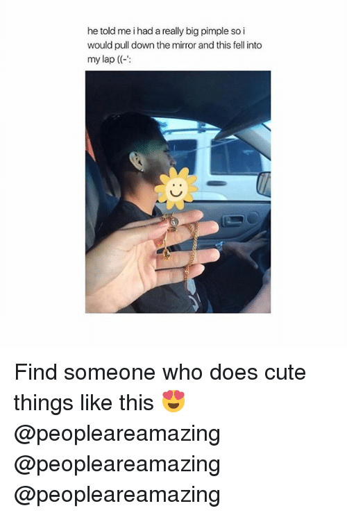 Cute, Memes, and Mirror: he told me i had a really big pimple so i  would pull down the mirror and this fell into  my lap ( Find someone who does cute things like this 😍 @peopleareamazing @peopleareamazing @peopleareamazing