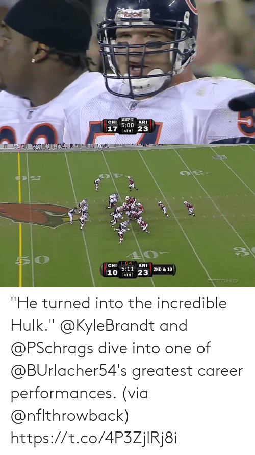 """greatest: """"He turned into the incredible Hulk.""""  @KyleBrandt and @PSchrags dive into one of @BUrlacher54's greatest career performances. (via @nflthrowback) https://t.co/4P3ZjlRj8i"""