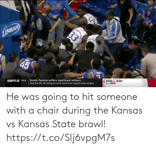 hit: He was going to hit someone with a chair during the Kansas vs Kansas State brawl!  https://t.co/Slj6vpgM7s