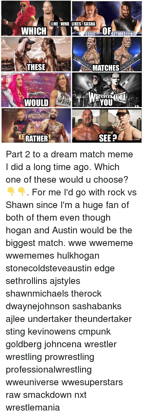 Stinged: @HE WHO LIKES SASHA  OF  THESE  S MATCHES  TID  WOULD  THE 434  KERATHER  SEEP Part 2 to a dream match meme I did a long time ago. Which one of these would u choose?👇👇. For me I'd go with rock vs Shawn since I'm a huge fan of both of them even though hogan and Austin would be the biggest match. wwe wwememe wwememes hulkhogan stonecoldsteveaustin edge sethrollins ajstyles shawnmichaels therock dwaynejohnson sashabanks ajlee undertaker theundertaker sting kevinowens cmpunk goldberg johncena wrestler wrestling prowrestling professionalwrestling wweuniverse wwesuperstars raw smackdown nxt wrestlemania