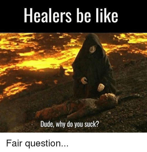 You Sucks: Healers be like  Dude, why do you suck? Fair question...