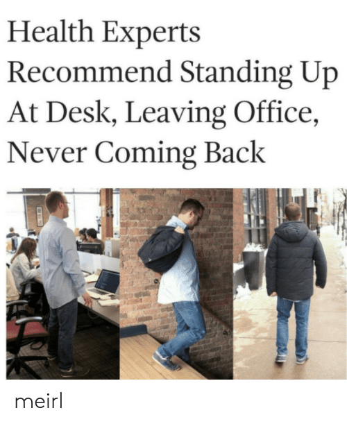 Desk, Office, and Never: Health Experts  Recommend Standing Up  At Desk, Leaving Office,  Never Coming Back meirl