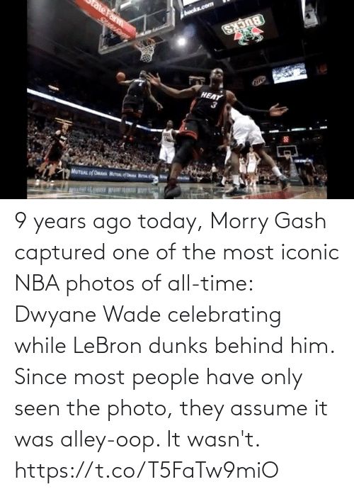Heat: HEAT 9 years ago today, Morry Gash captured one of the most iconic NBA photos of all-time: Dwyane Wade celebrating while LeBron dunks behind him.   Since most people have only seen the photo, they assume it was alley-oop. It wasn't.   https://t.co/T5FaTw9miO