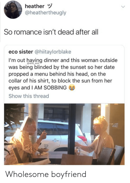 Head, Date, and Sunset: heather  @heathertheugly  So  romance isn't dead after all  eco sister @hiitaylorblake  I'mout having dinner and this woman outside  was being blinded by the sunset so her date  propped a menu behind his head, on the  collar of his shirt, to block the sun from her  eyes and I AM SOBBING  Show this thread  @will_ent Wholesome boyfriend