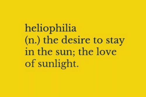 Love, Sun, and The Sun: heliophilia  (n.) the desire to stay  in the sun; the love  of sunlight.