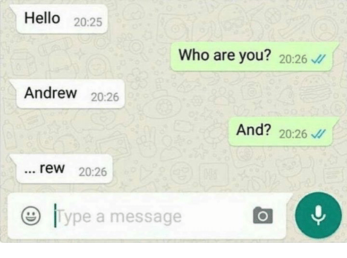 Hello, Italian (Language), and Who: Hello  20:25  Who are you?  20:26  Andrew  20:26  And? 20:26  rew 20:26  O Type a message