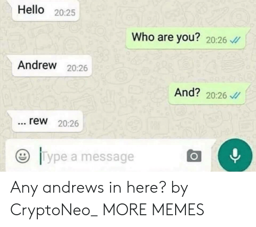 Dank, Hello, and Memes: Hello 20:25  Who are you? 20:26  Andrew 20:26  And? 20:26  rew 20:26  ジ11 ype a message Any andrews in here? by CryptoNeo_ MORE MEMES