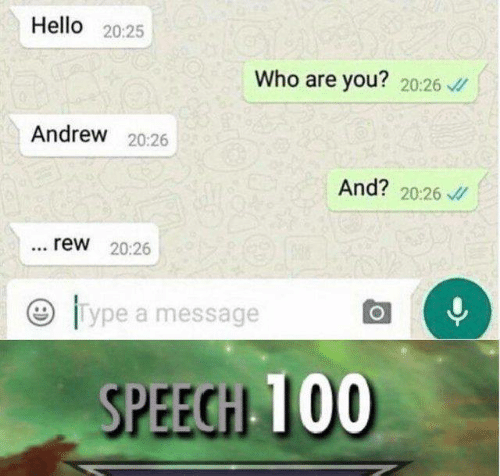Hello, Memes, and 🤖: Hello 20:25  Who are you? 20:26  Andrew 20:26  And? 20:26  rew 20:26  lype a message  SPEEGH 100