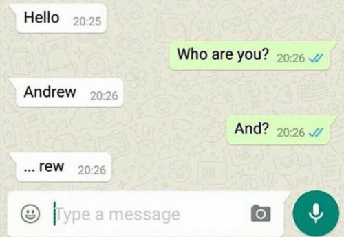 Hello, Who, and You: Hello 20:25  Who are you? 20:26 /  Andrew 20:26  And? 20:26  rew 20:26  9 lype a message