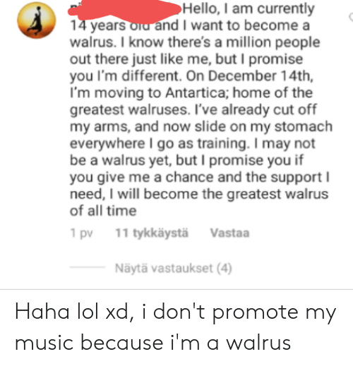 Hello, Lol, and Music: Hello, I am currently  14 years oid and I want to become a  walrus. I know there's a million people  out there just like me, but I promise  you I'm different. On December 14th  I'm moving to Antartica; home of the  greatest walruses. I've already cut off  my arms, and now slide on my stomach  everywhere I go as training. I may not  be a walrus yet, but I promise you if  you give me a chance and the support  need, I will become the greatest walrus  of all time  11 tykkäystä  Vastaa  1 pv  Näytä vastaukset (4) Haha lol xd, i don't promote my music because i'm a walrus