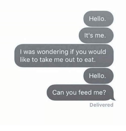 Hello, Memes, and 🤖: Hello.  It's me.  I was wondering if you would  like to take me out to eat.  Hello.  Can you feed me?  Delivered