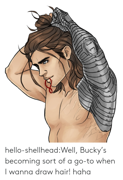 Hello, Target, and Tumblr: hello-shellhead:Well, Bucky's becoming sort of a go-to when I wanna draw hair! haha