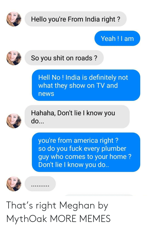 America, Dank, and Definitely: Hello you're From India right?  Yeah !I am  So you shit on roads?  Hell No ! India is definitely not  what they show on TV and  news  Hahaha, Don't lie I know you  do...  you're from america right?  so do you fuck every plumber  guy who comes to your home?  Don't lie I know you do.. That's right Meghan by MythOak MORE MEMES