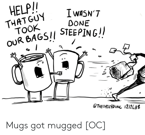 mugs: HELP/  I wASN'T  DONE  THAT GUY  TOOK  OUR BAGS!/ STEEPINGI  0  CTHEDATNDUNC 121201s Mugs got mugged [OC]