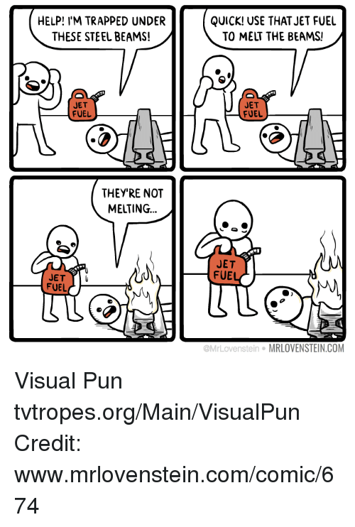 Beamly: HELP! I'M TRAPPED UNDER  THESE STEEL BEAMS!  JET  FUEL  THEY'RE NOT  MELTING  JET  FUEL  QUICK! USE THAT JET FUEL  TO MELT THE BEAMS!  JET  FUEL  JET  FUE  tein MRLOVENSTEIN.COM Visual Pun tvtropes.org/Main/VisualPun Credit: www.mrlovenstein.com/comic/674
