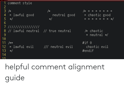 comment: helpful comment alignment guide