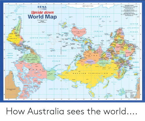 HEMA Upside Down World Map oUTHERN OCEAN OCE NORTH PACIFI
