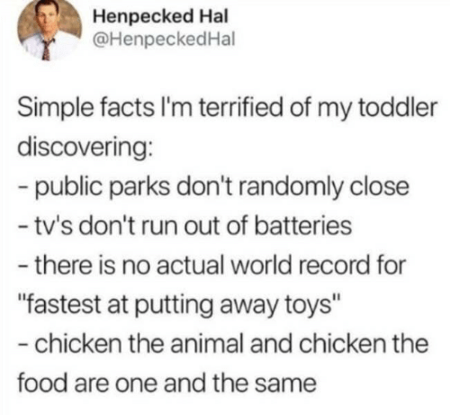 "terrified: Henpecked Hal  @HenpeckedHal  Simple facts I'm terrified of my toddler  discovering:  -public parks don't randomly close  - tv's don't run out of batteries  -there is no actual world record for  ""fastest at putting away toys""  -chicken the animal and chicken the  food are one and the same"