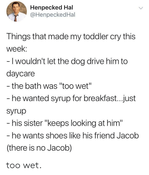 """hal: Henpecked Hal  @HenpeckedHal  Things that made my toddler cry this  week:  -I wouldn't let the dog drive him to  daycare  - the bath was """"too wet""""  he wanted syrup for breakfast...just  Syrup  his sister """"keeps looking at him""""  he wants shoes like his friend Jacolb  (there is no Jacob) too wet."""