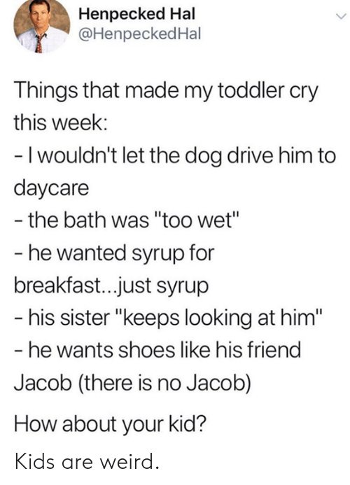 """hal: Henpecked Hal  @HenpeckedHal  Things that made my toddler cry  this week:  - I wouldn't let the dog drive him to  daycare  the bath was """"too wet""""  - he wanted syrup for  breakfast..just syrup  - his sister """"keeps looking at him""""  - he wants shoes like his friend  Jacob (there is no Jacob)  How about your kid? Kids are weird."""