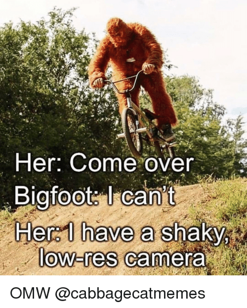 Bigfoot, Come Over, and Camera: Her: Come over  Bigfoot: I can't  Hera I have a shaky  ow-res Camera OMW @cabbagecatmemes