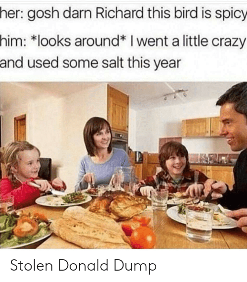 Crazy, Spicy, and Salt: her: gosh darn Richard this bird is spicy  him: *looks around* I went a little crazy  and used some salt this year Stolen Donald Dump